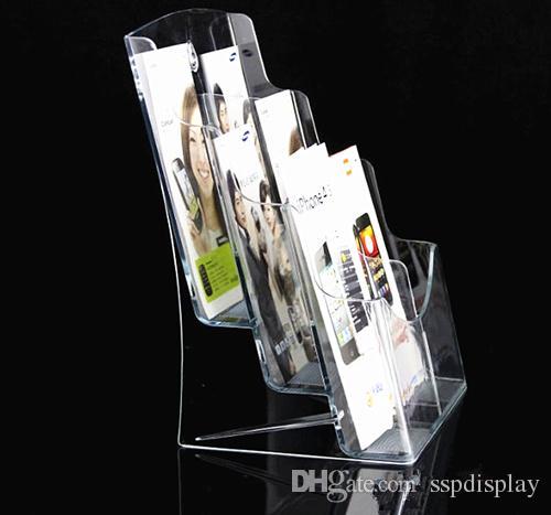 Chiara A6 sei tasche opuscolo Brochure Letteratura plastica acrilico titolare espositore inserire Leaflet su Desktop 1 pz spedizione gratuita