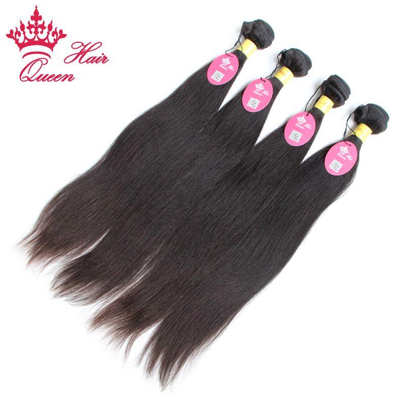 Queen Hair Products Peruviaanse Virgin Menselijk Haarverlenging Natuurlijke Kleur # 1B weeft rechte gemengde lengtes 12-28 DHL verzending