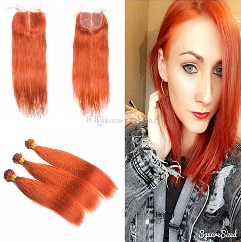 Top Lace Closure With Orange Color Hair Extension 4Pcs Lot Silky Straight Human Hair Weaves And Lace Closure With Baby Hair