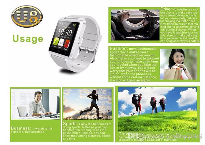 Bluetooth Smart Watch U8 Watch Wrist Smartwatch for iPhone 4 4S 5 5S 6 6 plus Samsung S4 S5 Note 2 Note 3 HTC Android Phone Smartphones 2015