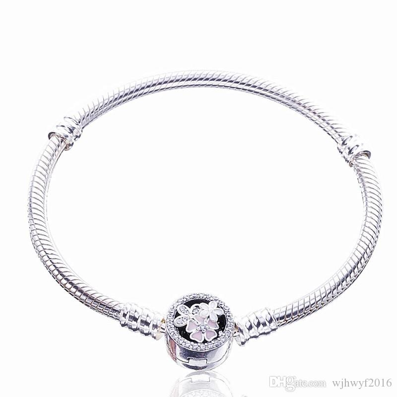 a7275150b8d 2019 Poetic Blooms Clasp Moments Bracelets Authentic 925 Sterling Silver  Flower Snake Chain Bracelet Bangles DIY Brand 2017 Winter Charms Beads From  ...