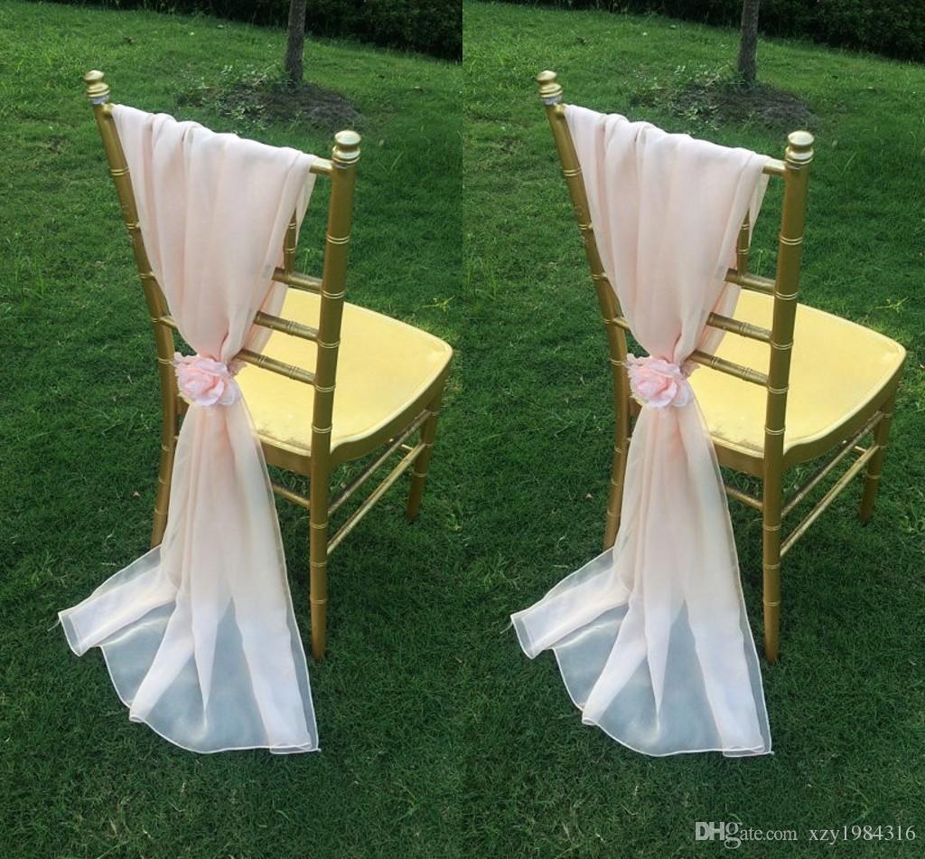 Blush Rose En Mousseline De Soie Chaise Ceintures Avec Fleurs Longueur Au Sol Volants Creative Décorations De Mariage Chaise Couvre Pas Cher À La Main De Mariage Fournitures