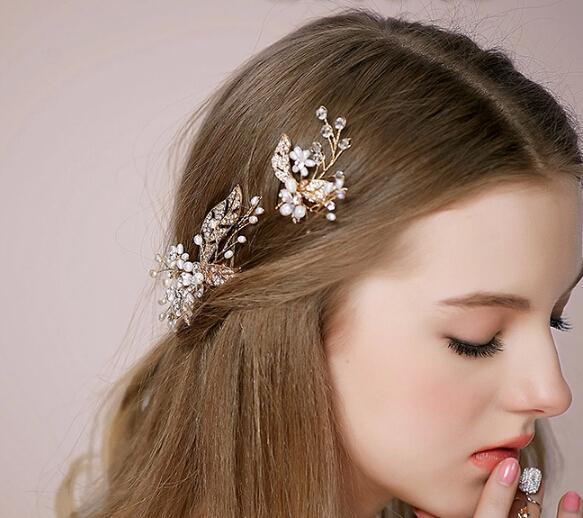 2015 Light Gold Wedding Tiaras Sets Cheap Bridal Headband Hadpiece Hand Made Fascinators Hair Comb