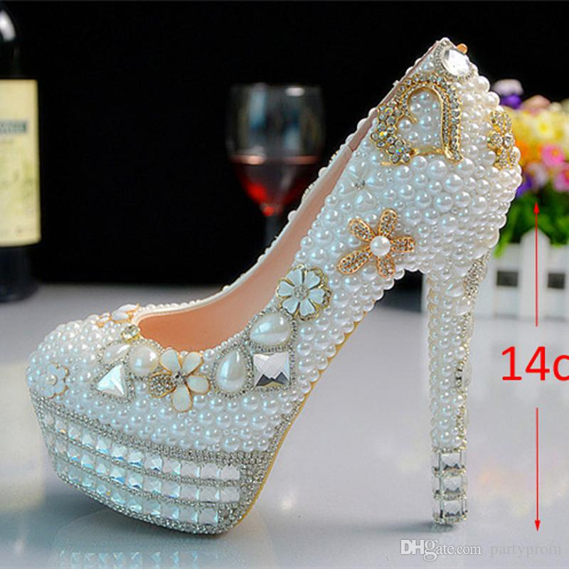 Custom made Pearl Crystal Beaded lady's formal shoes High Heels Beaded Bridal Evening Prom Party Wedding Dress Bridesmaid Shoes