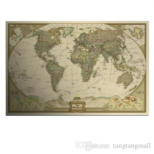 Large vintage world map home decoration detailed antique poster wall large vintage world map home decoration detailed antique poster wall chart retro paper matte kraft paper 2818inch map of world a5 wall art decor stickers gumiabroncs Image collections