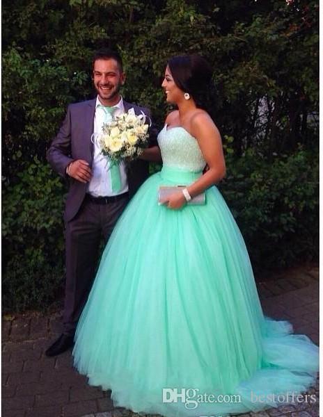 Nuevos vestidos de fiesta Vestidos largos de quinceañera verde menta Lentejuelas con cuentas cariño corpiño corsé vestido de fiesta en color menta Vestido de fiesta brillante