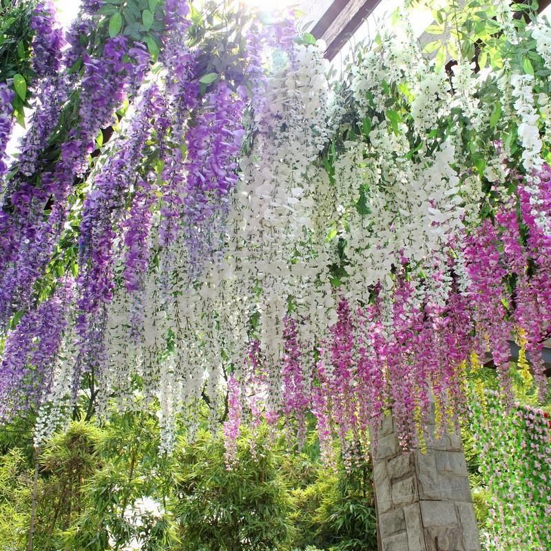 White yellow purple artificial silk flower vine rattan home decor white yellow purple artificial silk flower vine rattan home decor simulation wisteria garland craft ornament for wedding party decorations artificial silk mightylinksfo