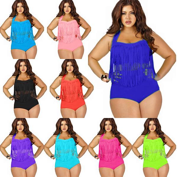hot sale plus size tassels bikinis high waist sexy swimsuit women