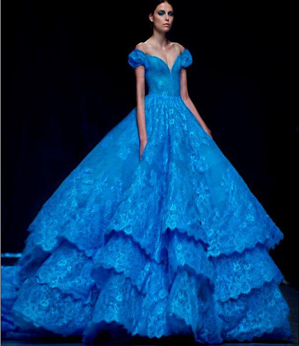 Modest Royal Blue 2016 Tiered Lace Quinceanera Dresses Cap