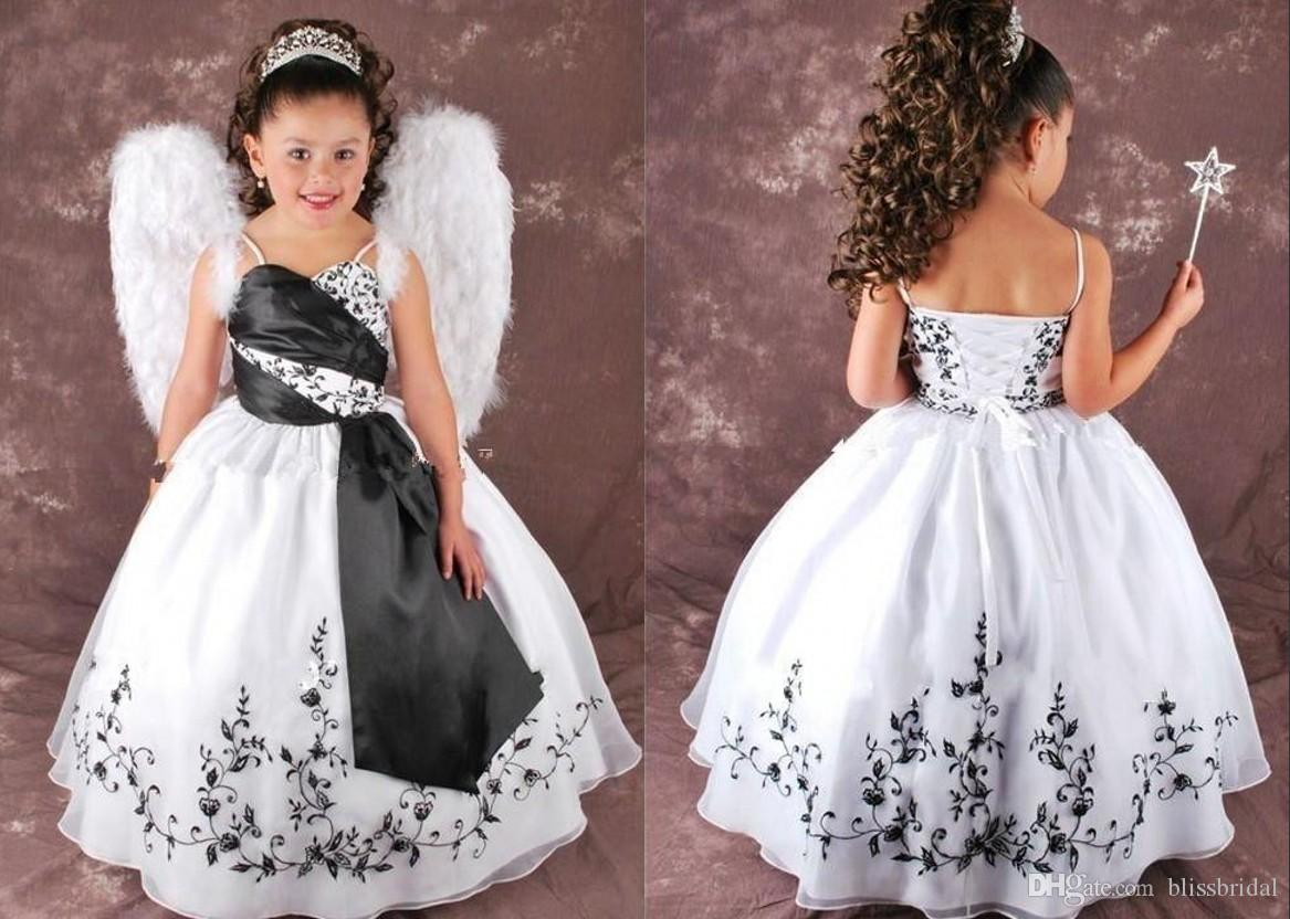 Satin White And Black Flower Girl Dresses Spaghetti Straps Ball Gown