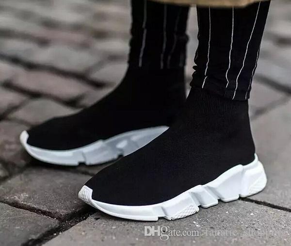 Fast shipping 2017 wholesale Men and Women Designer Shoes Paris Famous Brand Speed sock Trainer Mid Black White red Sneakers Mens Shoes