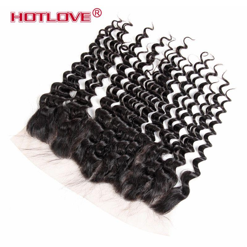 HOTLOVE Mongol Onda Profunda 3 pacote de Cabelo com Laço Frontal 13 * 4 polegadas Natural Preto Nenhum Derramamento No Tangle Grau 8A Bom cabelo