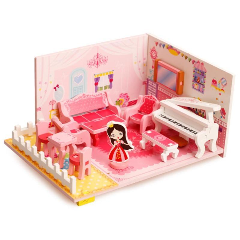 Wholesale- Kids Wooden Doll House Mini 3D Music Living Room Sofa ...