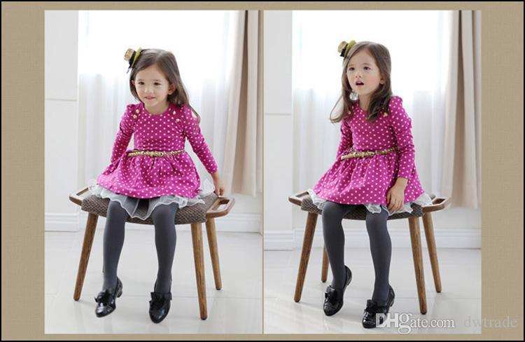 Девушки с длинным рукавом платье 2-8Y дети осень одежда Детские точки платья с поясом Принцесса платье партии бесплатная доставка MOQ:20 шт. SVS0468#