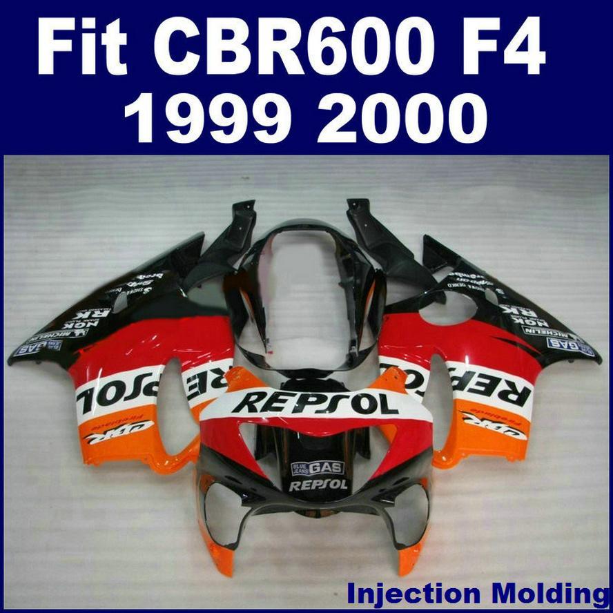 100% Injection molding parts full fairing kits for HONDA CBR 600 F4 1999 2000 orange red black 99 00 CBR600 F4 bodykits MKIL
