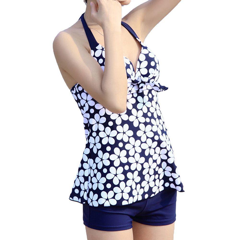 a503914db4b2c Sexy Tankinis Set Women Swimwear Flower Print Halter Neck Push Up Tankini  Bathing Suit Shorts Plus Size Swimsuit Blue Black Swimwear Design Swimwear  ...