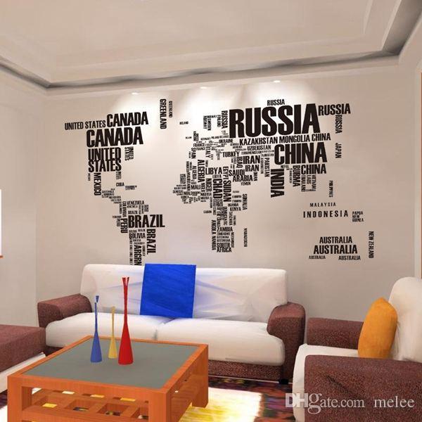 2015 Mapa del mundo Etiqueta de la pared Mapa del mundo para el estudio de aprendizaje Decoración de la pared negra Palabras de arte Palabras de vinilo Tatuajes de pared 60 * 90 cm * 2 envío gratis