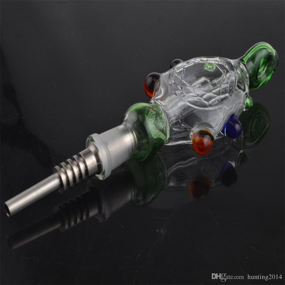 NC avec GR2 Titanium Nail Kit NC Concentré d'huile Tuyau Verre NC Recycleur Eau Bongs Tampons