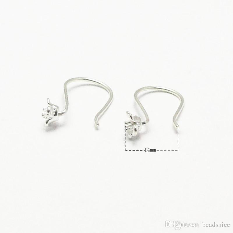 Beadsnice argento 925 orecchino ganci francese orecchini fiore orecchini gioielli in argento forniture gancio risultati orecchino all'ingrosso ID 25424