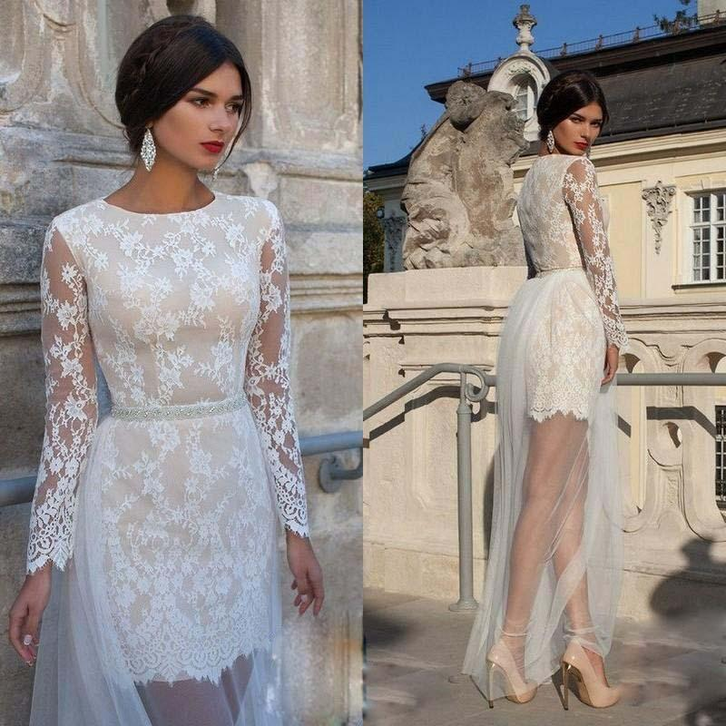 2015 charming short wedding dress with detachable skirt long sleeves sheath lace prom party gowns elegant bridal dresses vestido de novia long evening dress
