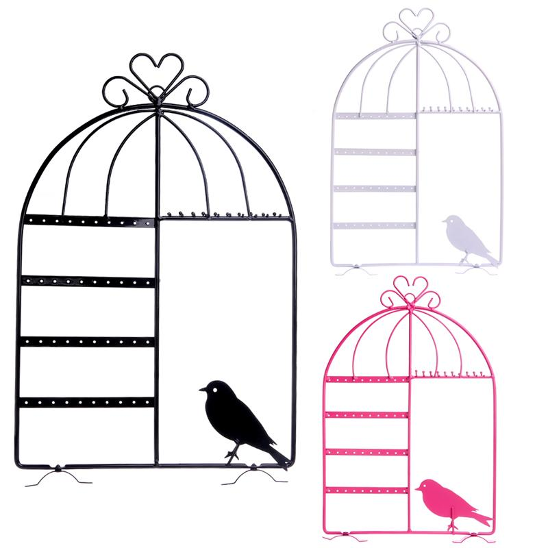Fashion Wall Jewelry Earring Organizer Creative Metal Tree Bird Hanging Holder Necklace Chain Display Stand Rack