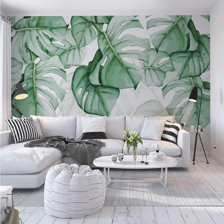 Custom Wall Mural Wallpaper European Style Retro Hand Painted Tropical Plants Banana Leaf
