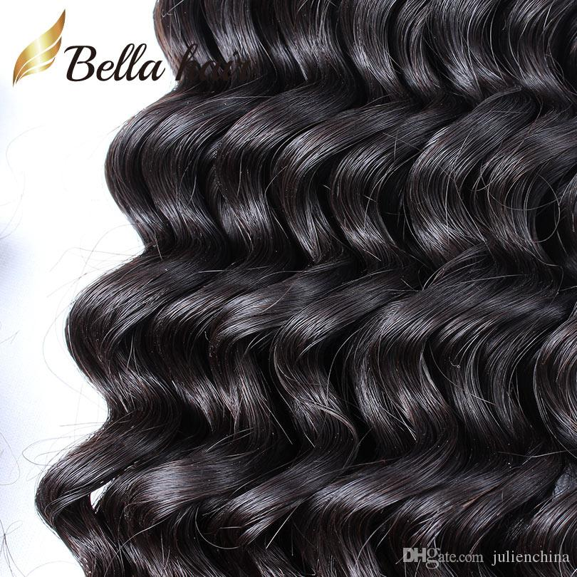 Bella Hair® 8A Dantel Kapatma Saç Demetleri Ile Brezilyalı Örgü Atkı Siyah Renk Derin Dalga Uzantıları Tam Kafa