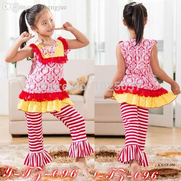 c1cfab20 2019 Wholesale Girls Valentine Outfit Summer Baby Girl Boutique Clothing  Set Red Brocade Stripe Ruffle Clothes With Lace Bib From Shengjue, $177.5 |  DHgate.