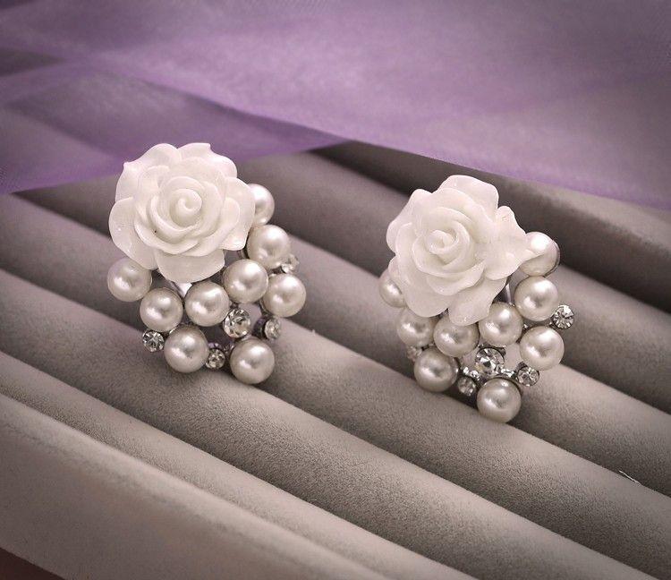 En stock 2015 Hermosa Rose Shape Beads pendientes de boda Mini joyería nupcial establece accesorios de boda baratos