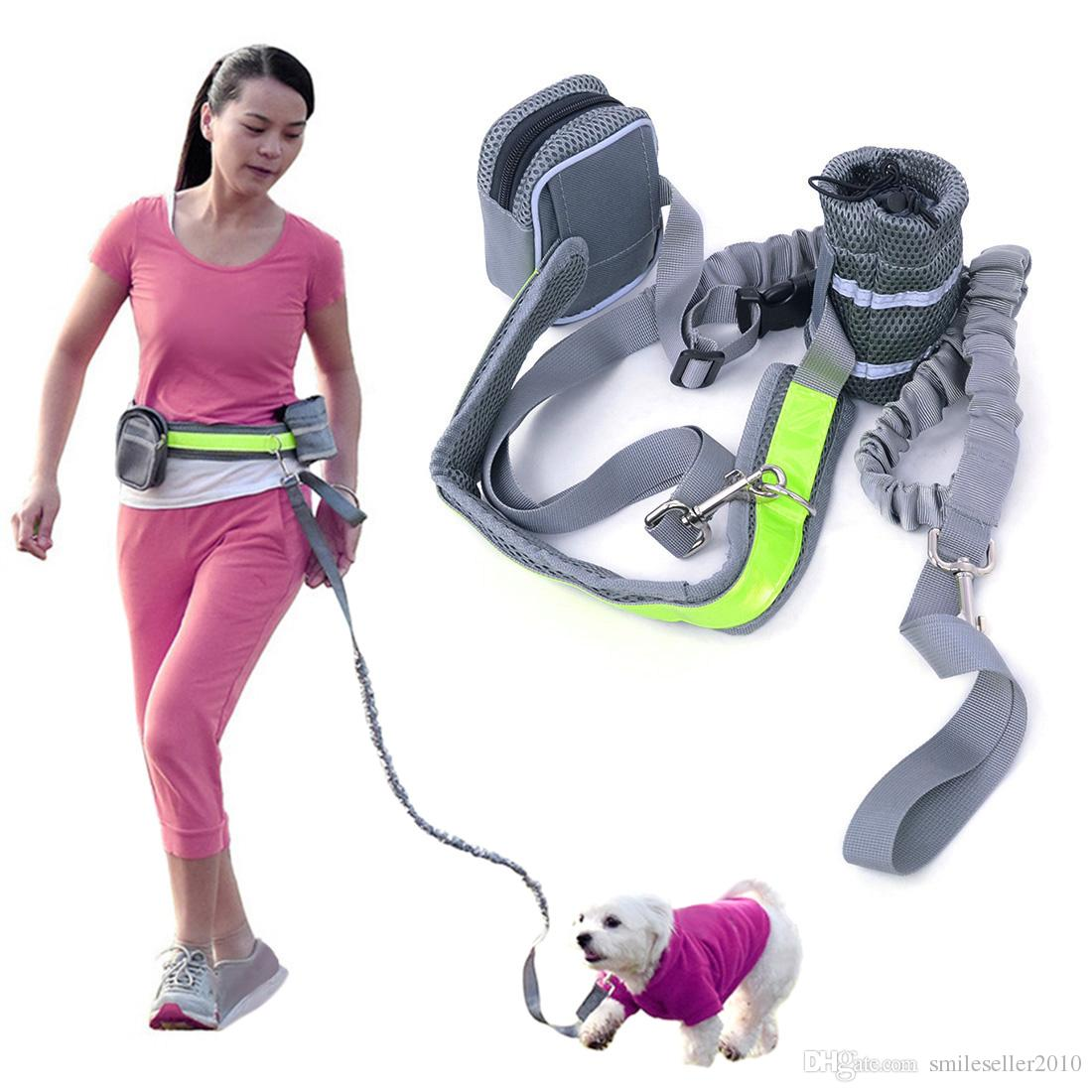Elastic Waist Dog Leash Running Jogging Sport Dog Supplies Adjustable Nylon Dog Harness with Reflective Strip Pet Accessories JJ0579