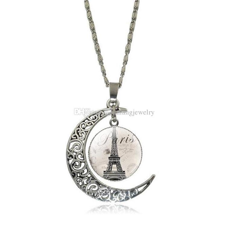 Fashion Pierced Moon Pendant Necklace Dangle Tower Charms Antique Silver Plated Necklace For Women Jewelry Valentine Gift