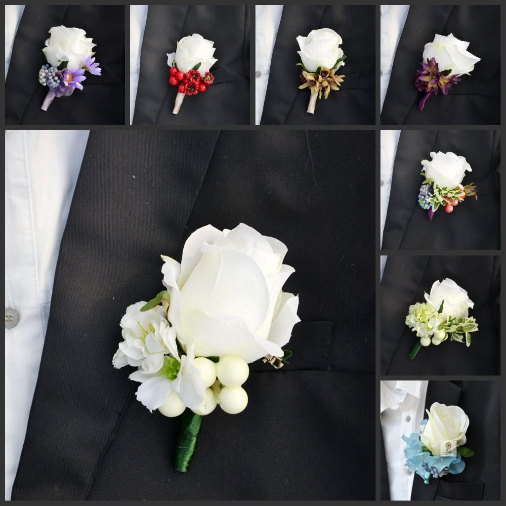 2015 New Wedding Boutonniere Brooch Elegant Artificial Rose Corsages