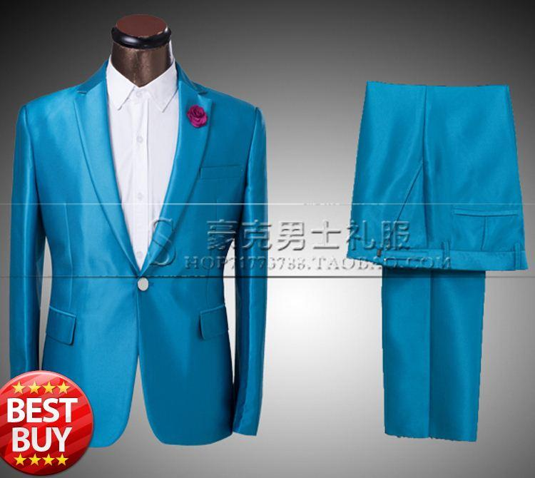 2018 Fg1509 2015 New Arrival Mens Blue One Button Suits Tuxedo Brand ...