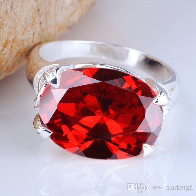 تعزيز جديد حار كبير البيضاوي حجر المرأة ريال 925 فضة الطوق الأحمر العقيق أحجام متعددة الألوان للاختيار الأزياء والمجوهرات r023