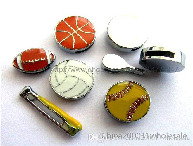 8mm Enamel Sports Slider Charms Mixed style Slide charms JM Mixed 003 Fit DIY Name Bracelets /Necklace/Name Pet collar/Key chain/