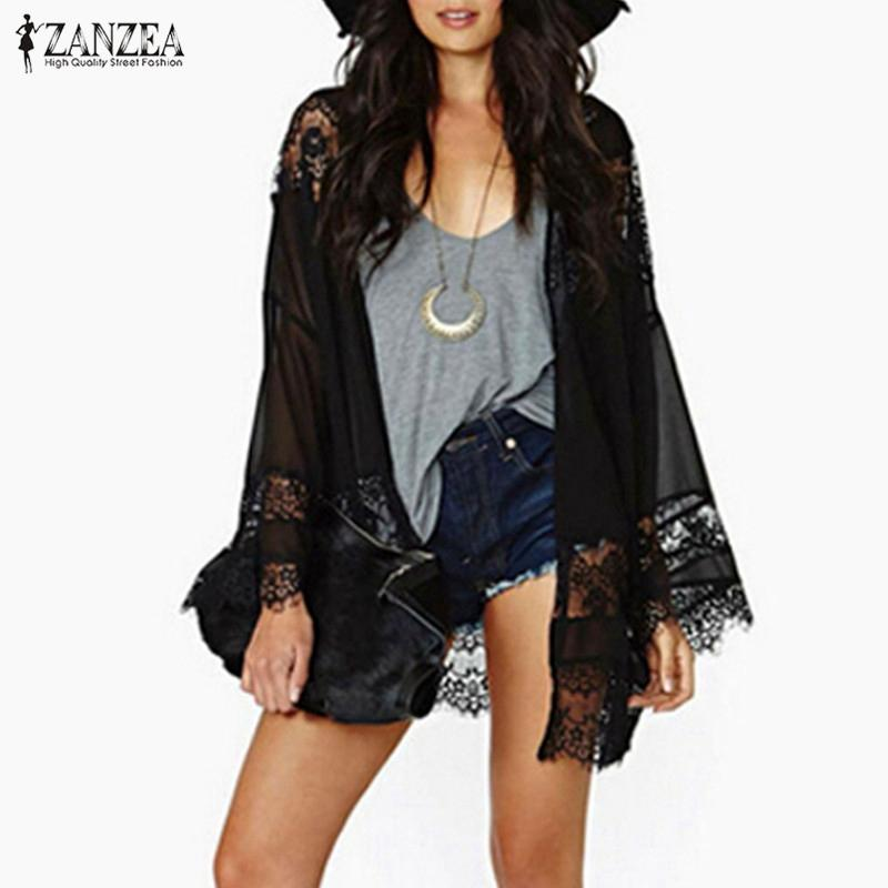 adc27dc8cfa 2019 Wholesale Plus Size S 5XL 2017 Womens Casual Vintage Boho Kimono  Cardigan Lace Crochet Chiffon Loose Blouse Tops Beige Black White From  Felix06