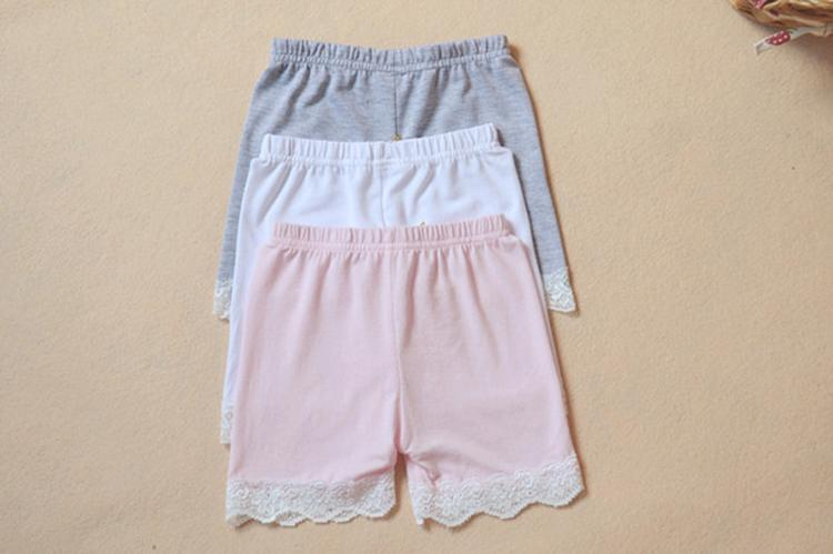 Sommermode Mädchen Baumwolle kurze Leggings Spitze kurze Leggings für Mädchen Spitze Sicherheitshosen Shorts Baby Mädchen Baumwolle kurze Leggings auf Lager