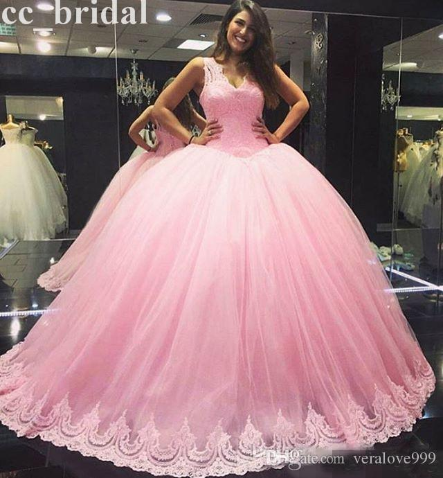 Baby Pink Ball Gown Quinceanera Dresses 2017 V Neck Lace Appliques For 15 Years Handmake Plus Size Masquerade Formal Prom Gowns Pageant Dres