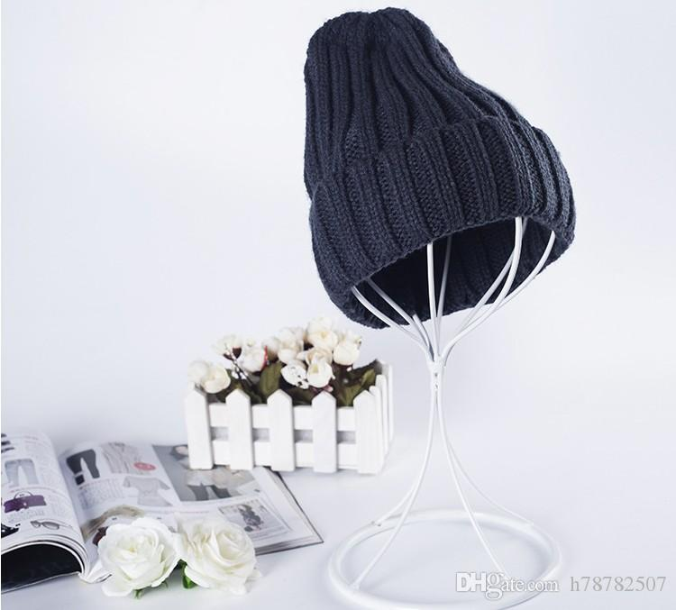 High Quality Woolen Knitted Hat Winter Warm Hats For Women New Korean Thicken candy-colored curling wool cap
