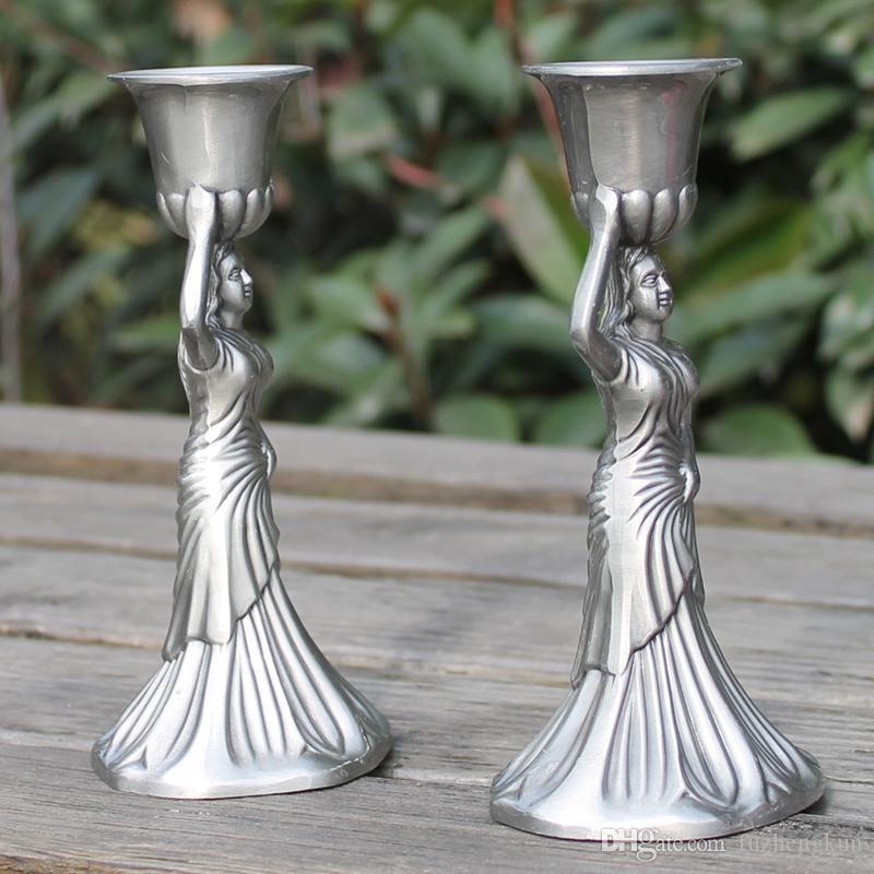 El estaño chapado palo de ángel vela para la boda o eventos, 1 par / sola cabeza retro candeleros 14 cm de altura decoraciones caseras