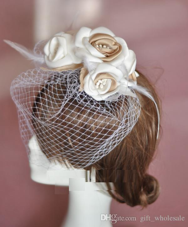 Hot Selling Bride Veil Comb Blusher Birdcage Tulle Ivory Champagne Flowers Feather Bridal Wedding Hots Hat Dress