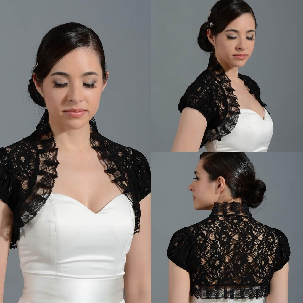 2019 2015 New Front Open High Neck Cap Sleeve Lace Black Short Bolero  Jacket Cap Wrap Shrug For Wedding Bridal Evening Party PJ031 From  Ourfreedom 22c6a20ebded
