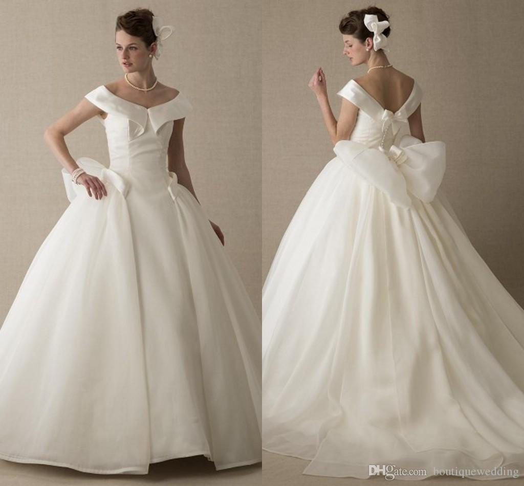 New Simple Satin Ball Gown Wedding Dresses 2015 Off