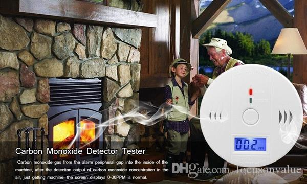 CO Karbon monoksit dedektörü LCD Arka Işık Monitör Alarm Zehirlenme Gaz Sensörü Uyarı duman Dedektörü Test Cihazı perakende kutusu içinde ev securtiy için