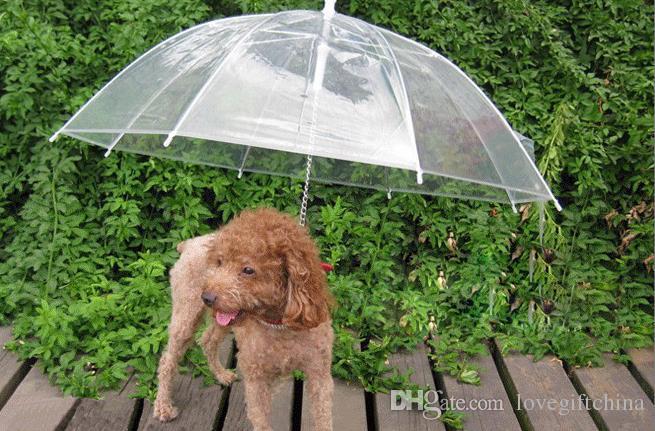 Legal Animal de Estimação Suprimentos Útil Transparente PE Pet Guarda-chuva Pequeno Cão Umbrella Chuva Engrenagem com o Cão Leva Mantém Pet Seco Confortável na chuva