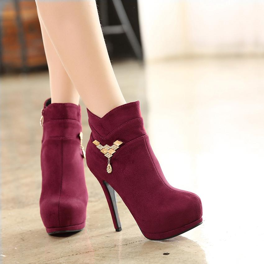 2016 New Burgundy Rhinestone Ankle Boots Women High Heel ...