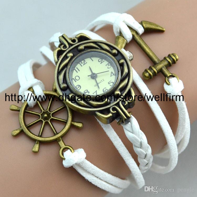 Infinity moda del reloj Relojes Pulsera encantos Pulsera Ancla de pulsera de cuero Relojes envío de