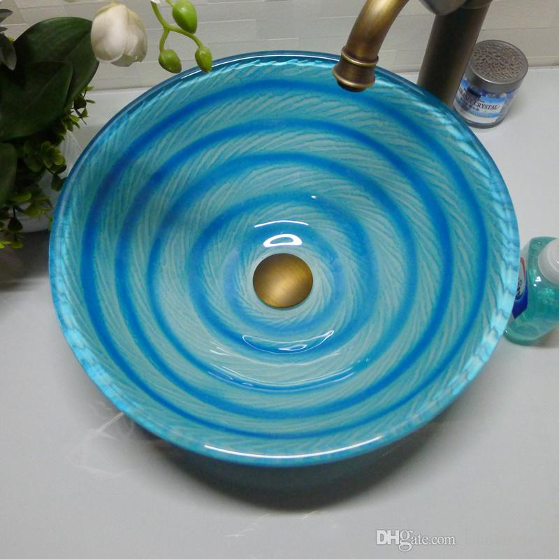 Bathroom tempered glass sink handcraft counter top round basin wash basins cloakroom shampoo vessel bowl HX006