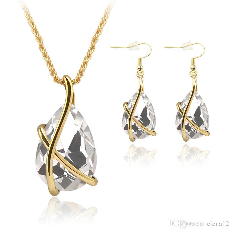 Diamond Crystal Drop Necklace Earrings Jewelry Sets Gold Cage Ear Cuff Pendant Chains Wedding Jewelry Gift for Women 162486