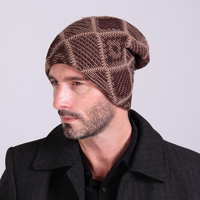 New 2015 Winter Warm Plaid Knitted Hats Mens Velvet Woolen Turban Cap  Autumn Womens Toe Caps Fleece Skullies Beanies Unisex Hats Trilby Mens Hats  From ... 23047bcc7bd